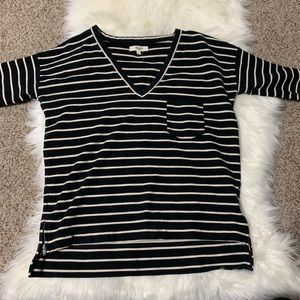 Madewell black and white striped shirt small